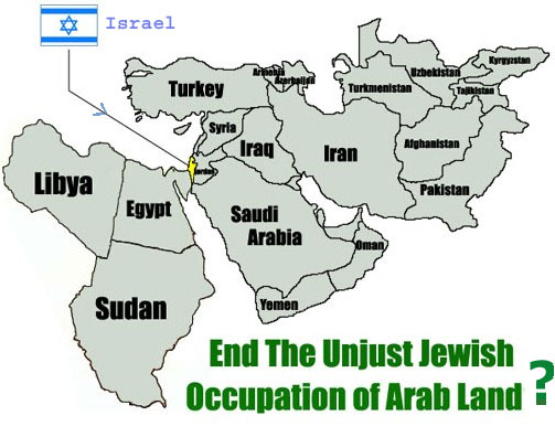 map of Israel and surrounding Arab neighbours